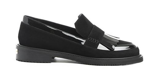 Mocassins Rivets Suede Patent Black