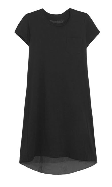 Sacai Black Mini T-Shirt Dress