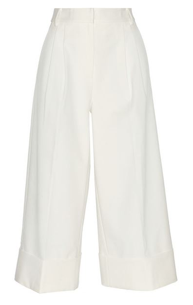 Tibi White Wide Leg Cropped Pants