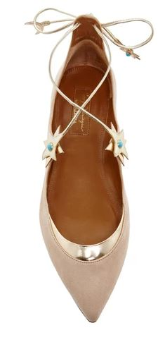 Aquazurra x Poppy Delevigne Gold Suede Midnight Star Lace Up Flats