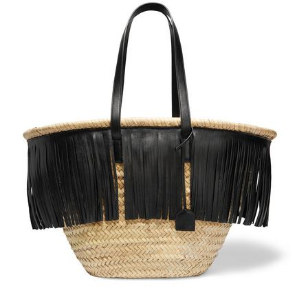 Saint Laurent Panier fringed leather-trimmed raffia tote