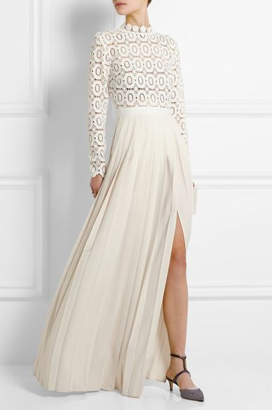 Self Portrait white lace and crepe maxi dress
