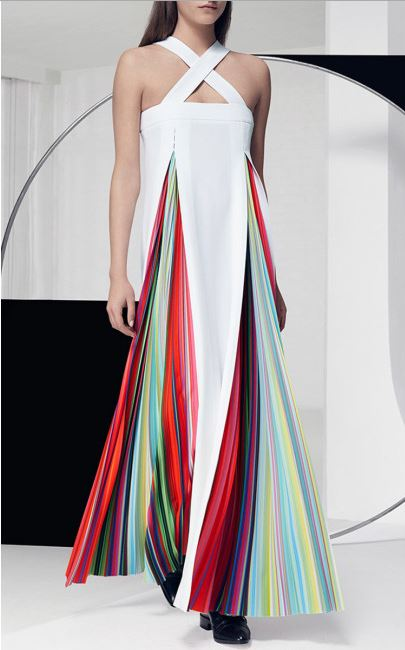 Mary Katrantzou rainbow pleat white dress