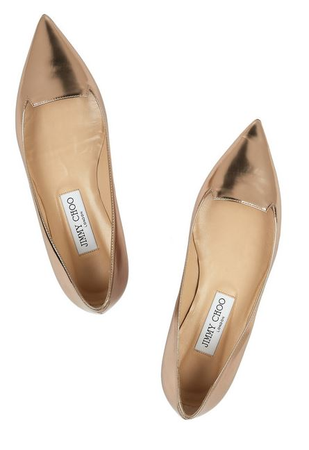 Jimmy Choo metallic pointed flats