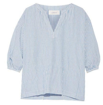 The Great striped cotton linen blouse