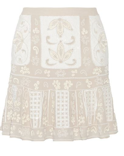 needle & thread embroidered mini skirt