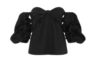 Johanna Ortiz black off-the-shoulder blouse