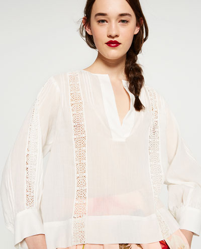 Zara embroidered top $50