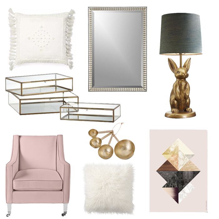 Pillow:  Serena & Lily  | Mirror:  Crate + Barrel  | Lamp:  Emily + Merrit  | Boxes:  Crate + Barrel  | Measuring Spoons:  Ferm Living  | Chair:  Serena + Lily  | Fur Pillow:  Pottery Barn  | Artwork:  Ferm Living