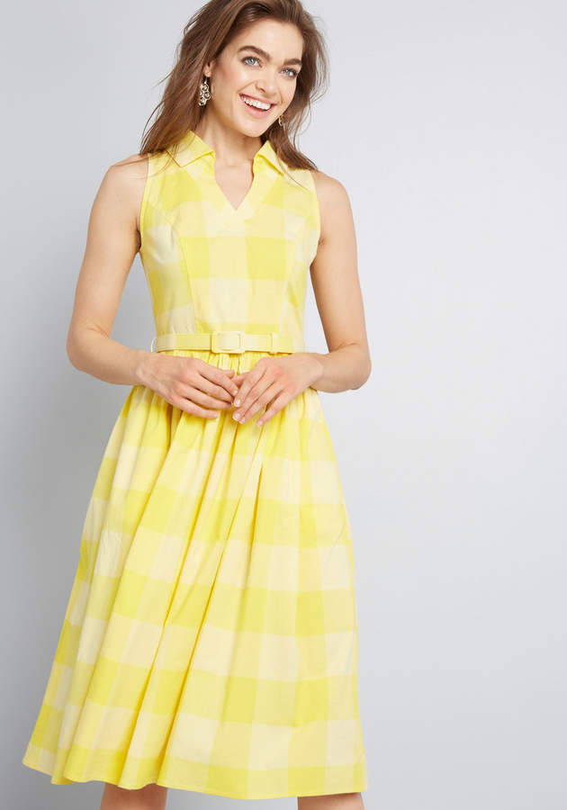 modcloth yellow gingham spring dress