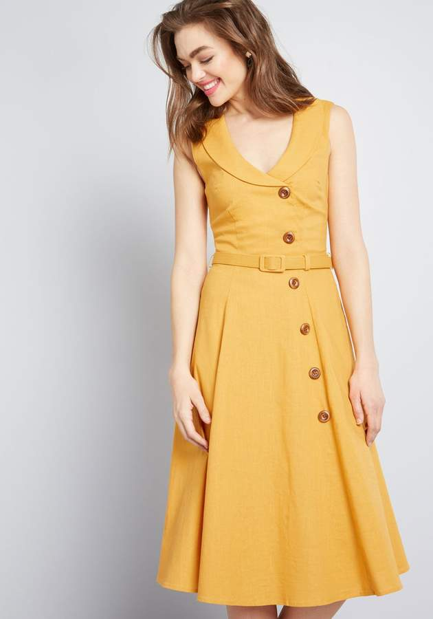 modcloth golden yellow spring 50s dress