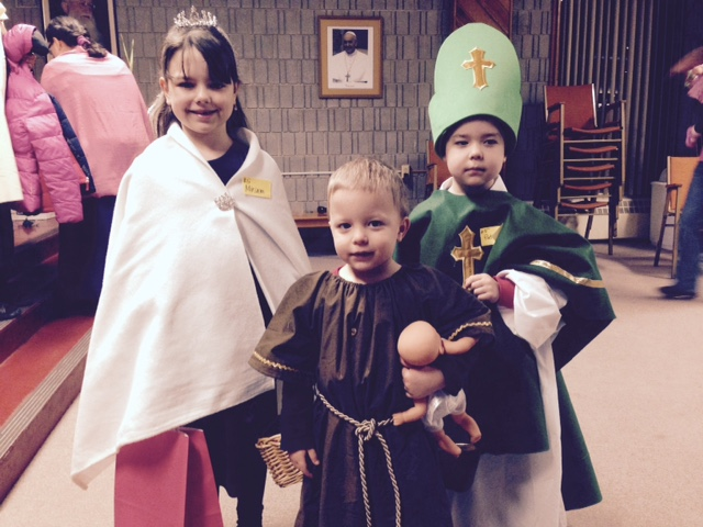 St. Elizabeth of Hungary, St. Joseph, and St. Patrick at the All Saints' Day celebration.