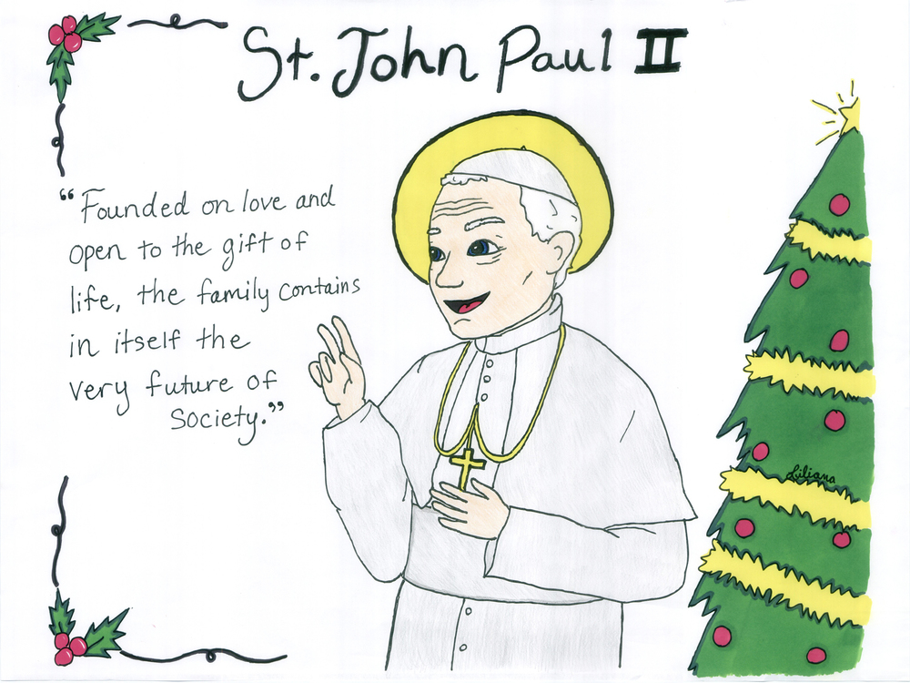 St. John Paul is the patron we chose for Saintly Seasons, and so he is honored with first place in our 13-month Catholic Children's Calendar.  If you have the calendar, don't forget to redeem and print your coloring page for December!