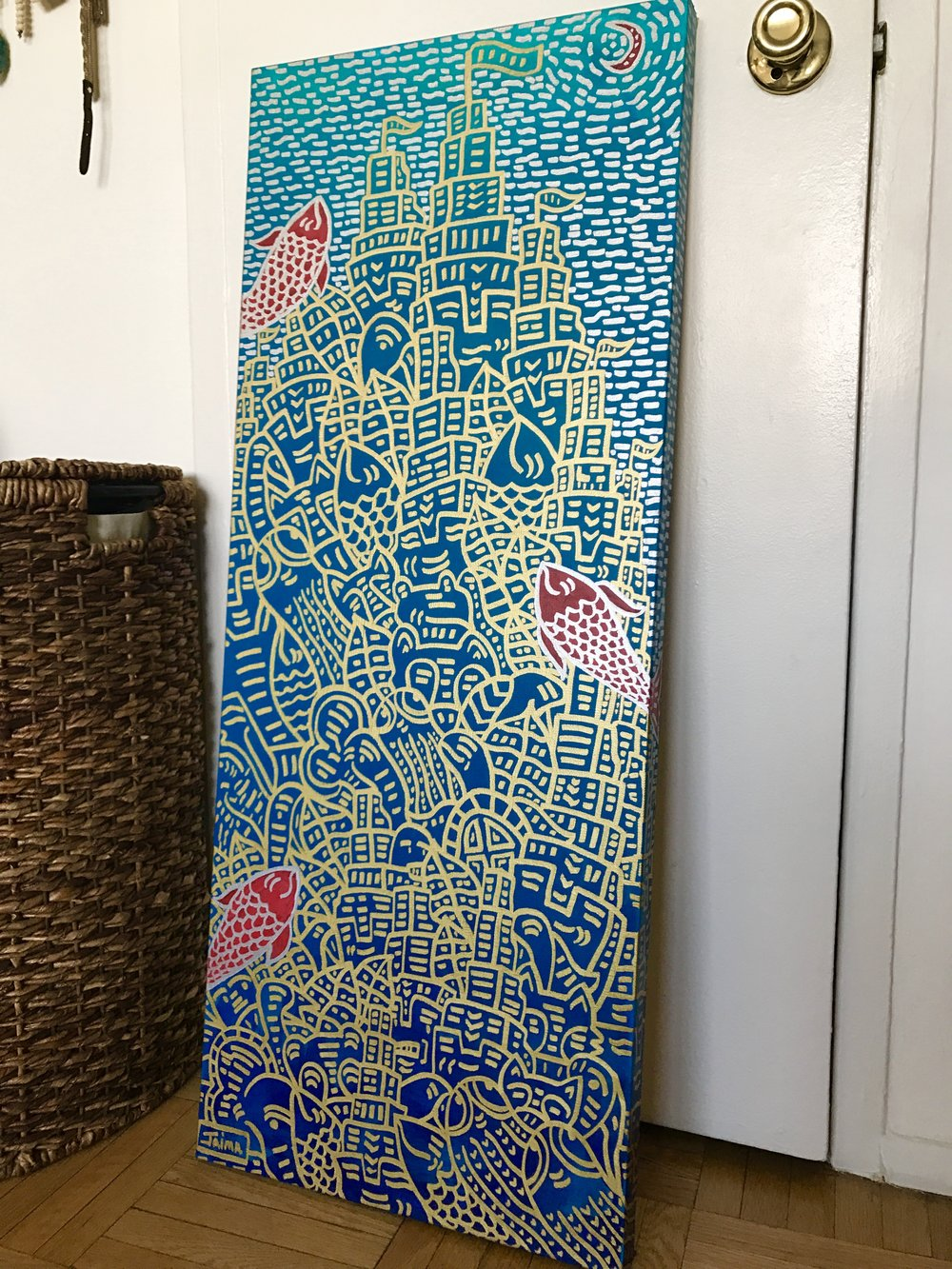 "Red Fish City Commission 40""x 16"""