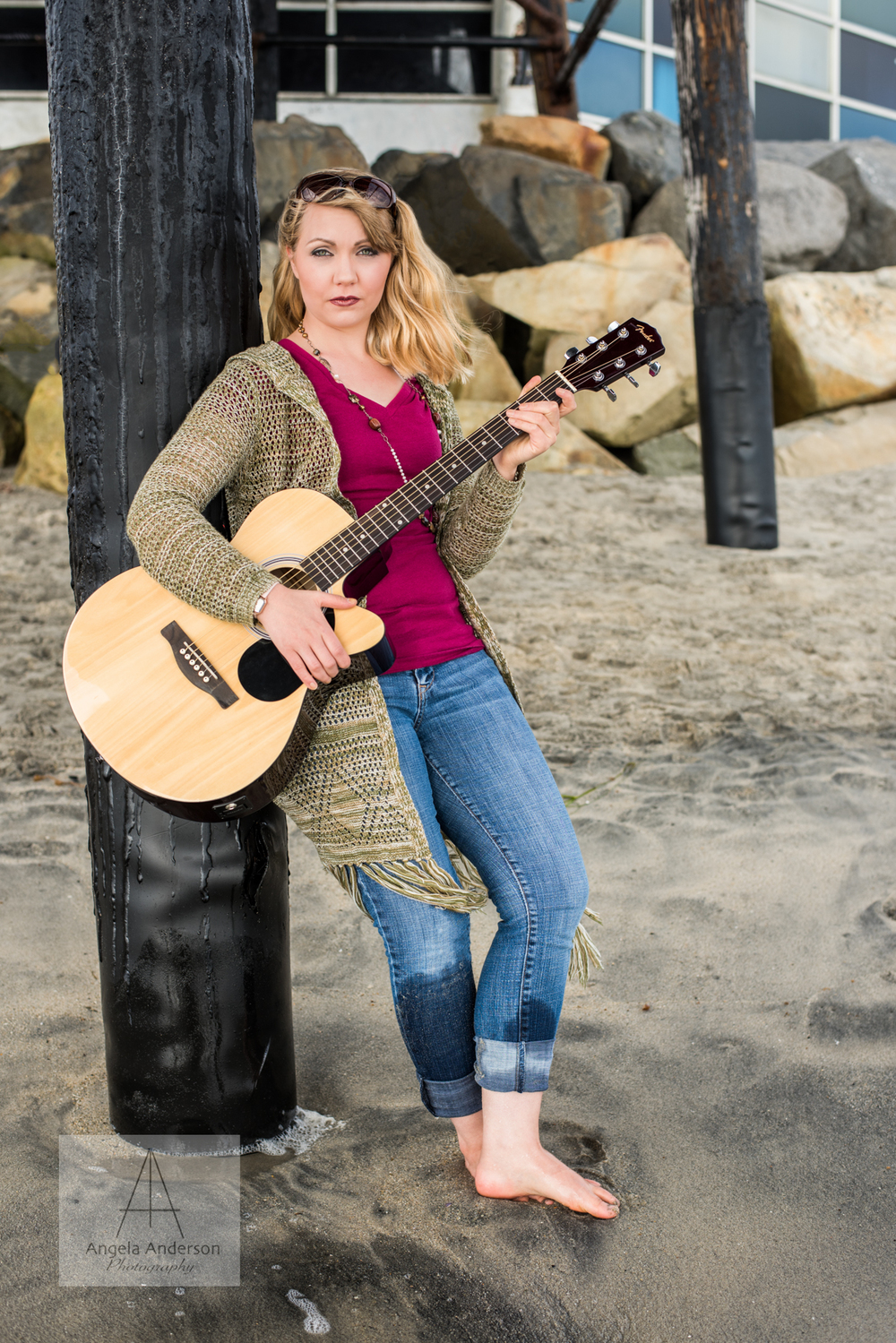 Holding her guitar under the pier at Oceanside Harbor, Becca is a stunning model for my recent photo shoot.