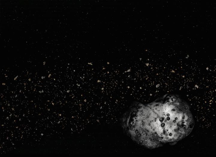 Asteroide - patate;Detriti di campo - caffè, pepe in grani, biscotti Girl Scout sbriciolati