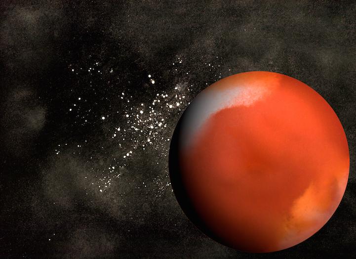 pianeta Marte - fondo di un bicchiere contenente salsa di pomodoro, acqua, colorante alimentare, salsa di soia, latte di cocco;Background - farina, bicarbonato
