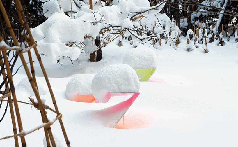 """Toshihiko Shibuya, installazione """"Snow Pallet 9"""", opera composta di diversi elementi"""
