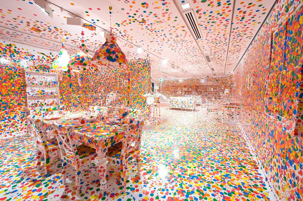 Yayoi Kusama The Obliteration Room, 2002 to present (Furniture, white paint, and dot stickers) Collaboration between Yayoi Kusama and Queensland Art Gallery. Commissioned Queensland Art Gallery, Australia. Gift of the artist through the Queensland Art Gallery Foundation 2012. Collection: Queensland Art Gallery, Brisbane, Australia Photograph: QAGOMA Photography © Yayoi Kusama