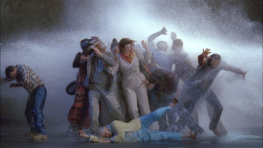 """(Tempesta, Studio per La zattera) Bill Viola, 2005, 16' 50"""" Video a colori ad alta definizione su schermo piatto LCD installato a parete. Museo Santa Maria Novella"""