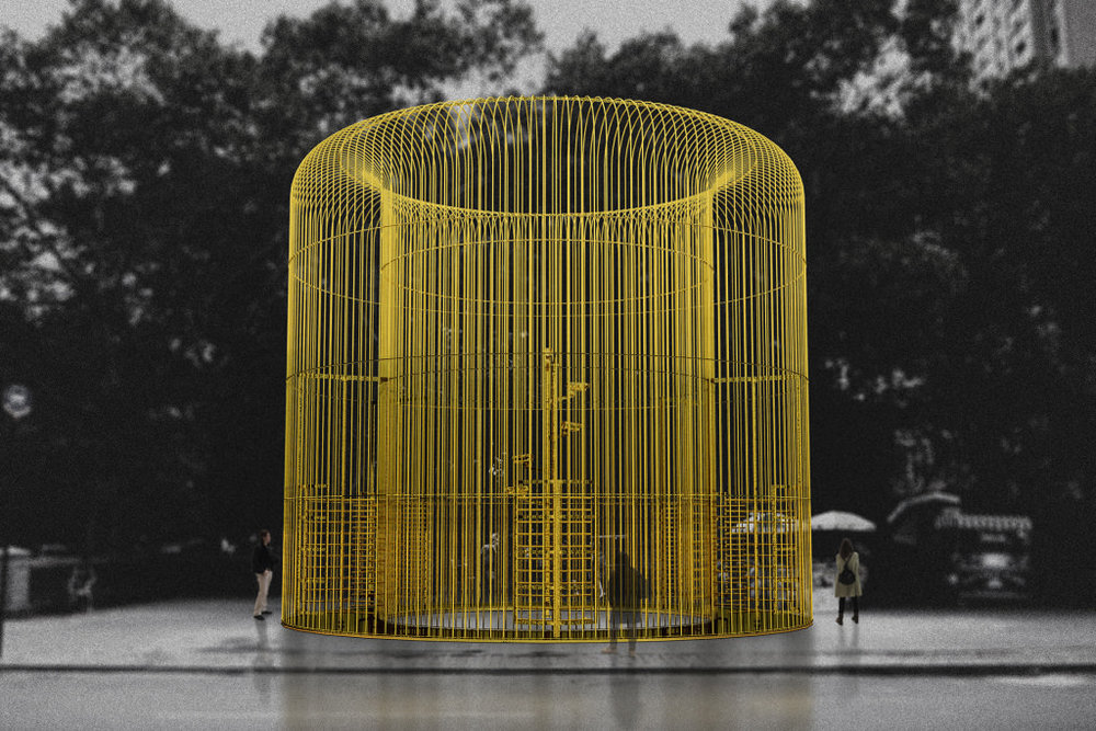 "ecco come sarà una delle installazioni di ""good fences make goood nieghbors"" by ai weiwei per il public art fund a newyork. courtesy Ai Weiwei Studio"