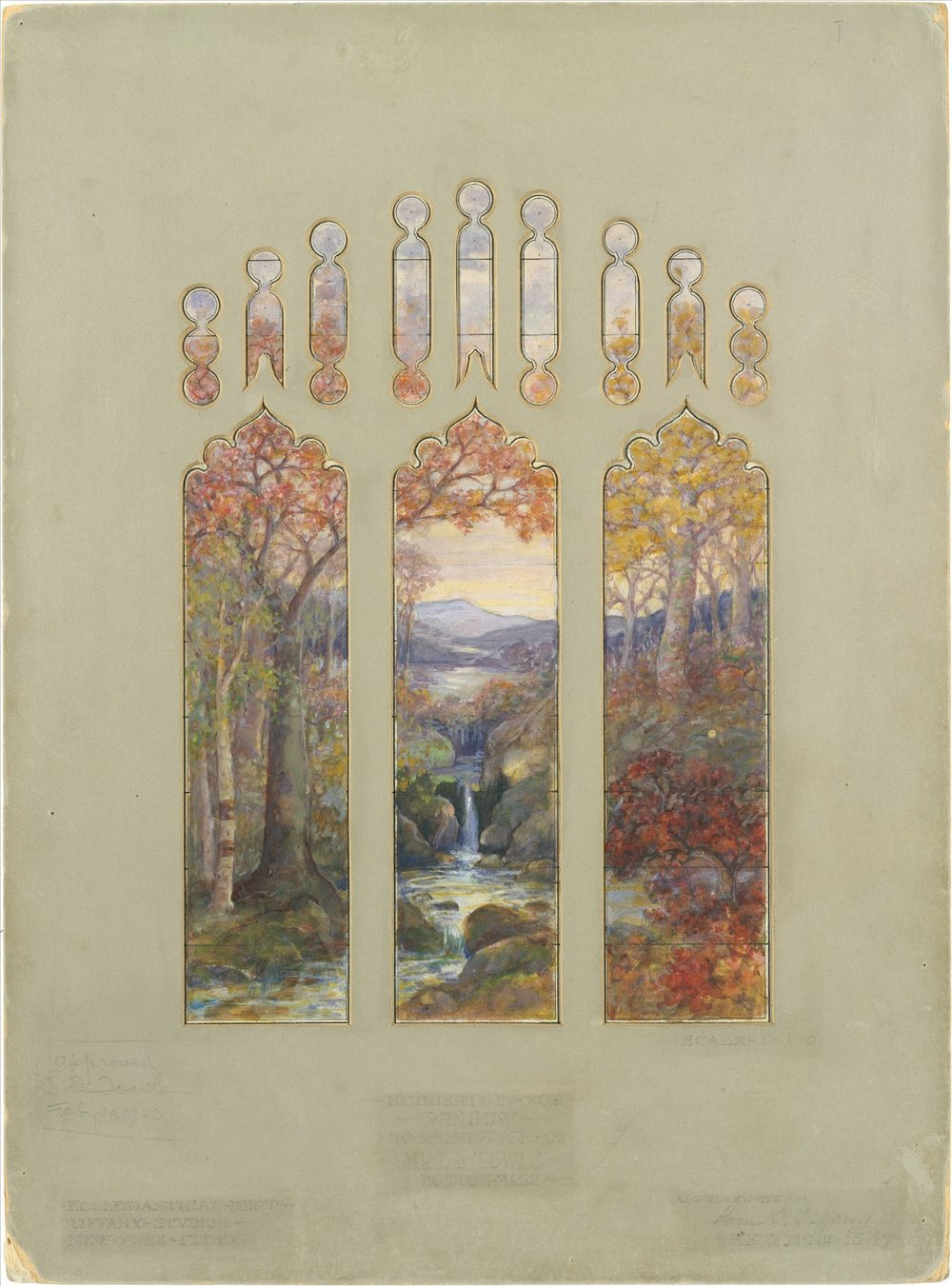 """ Art, Biology, and Conservation: Biodetermination of Works of Art ""; Luis Comfort Tiffany, ""Design for Autumn Landscape window"", 1923"