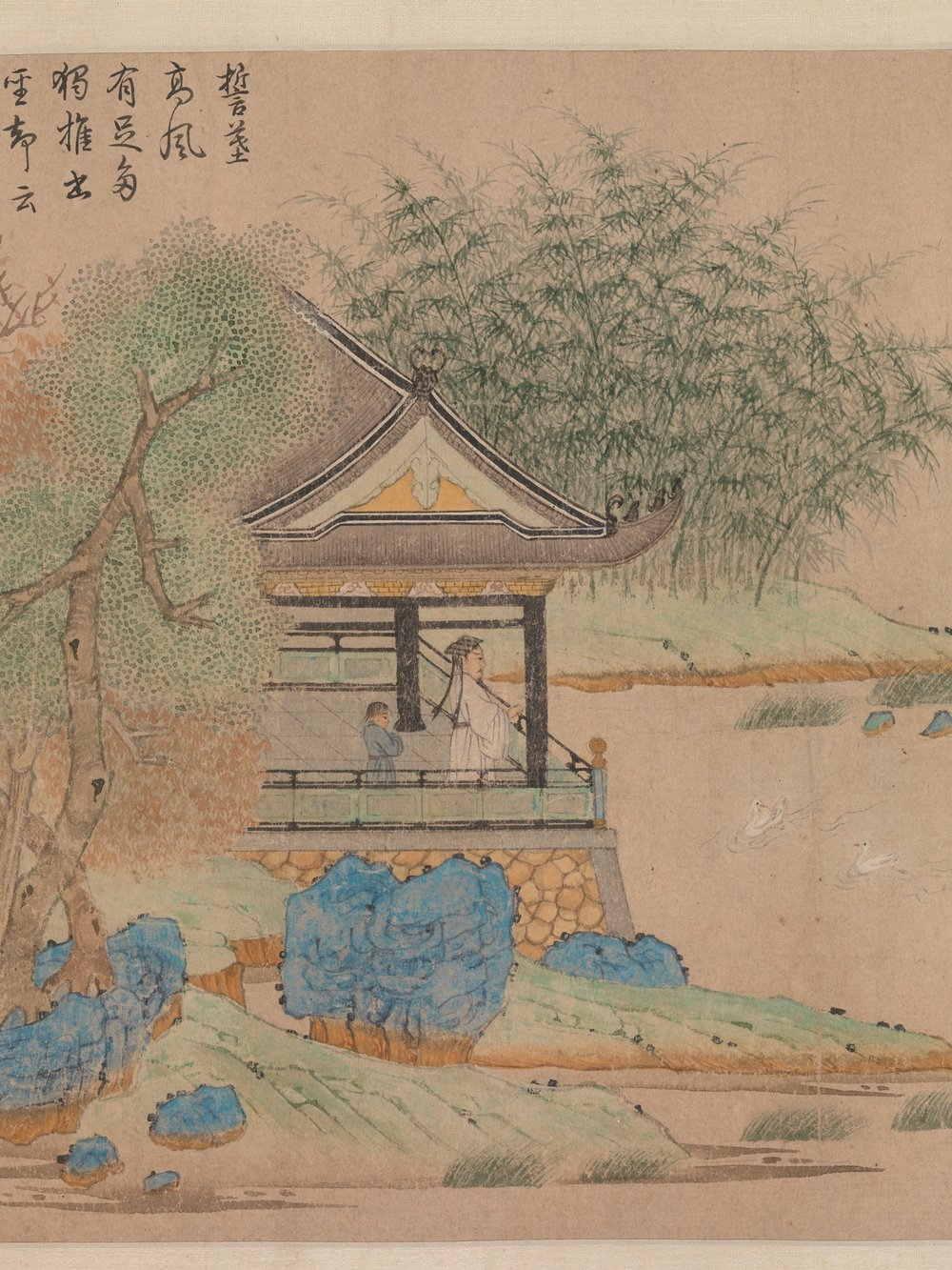 "."" Words and images: Chinese poetry, Calligraphy, and Paiting "". Qian Xuan, ""Wang Xizhi che osserva le oche"", 1295 circa"