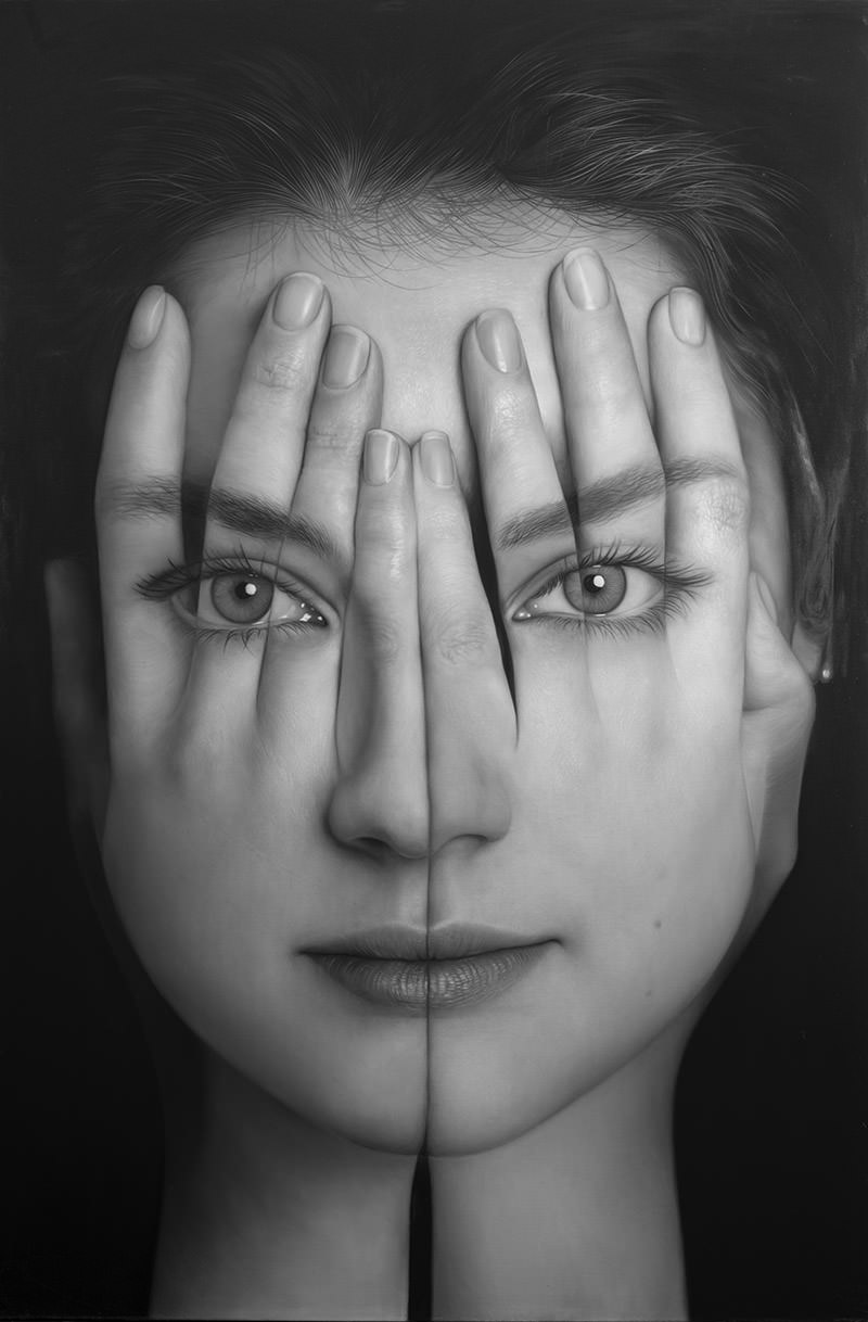 Tigran Tsitoghdzya, Mirror V (Ayna V), 2017, Olio su tela 190x127 cm. photo by  Gallery77