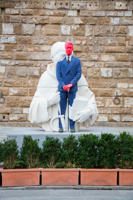 Urs Fischer, Fabrizio, 2017, Courtesy of the Artist, Photo by Mattia Marasco / MUS.E(la scultura andata distrutta è il ritratto dell'antiquario Fabrizio Moretti)