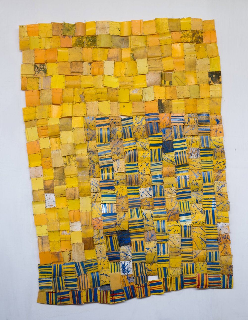 Serge Attukwei Clottey, Intents and Purposes, 2016, plastics, wire and oil paint, 53''x 75'', courtesy the artist and Gallery 1957