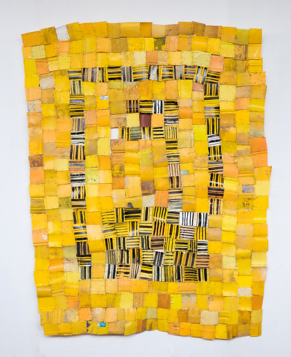 Serge Attukwei Clottey, Packed Community, 2016, plastics, wire and oil paint, 60'' x 78'', courtesy the artist and Gallery 1957