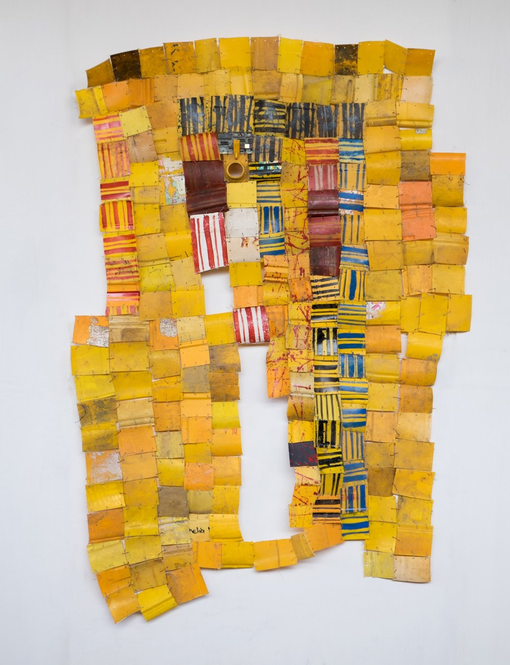Serge Attukwei Clottey, Preventable Accident, 2016, plastics, wire and oil paint, 50'' x 72'', courtesy the artist and Gallery 1957