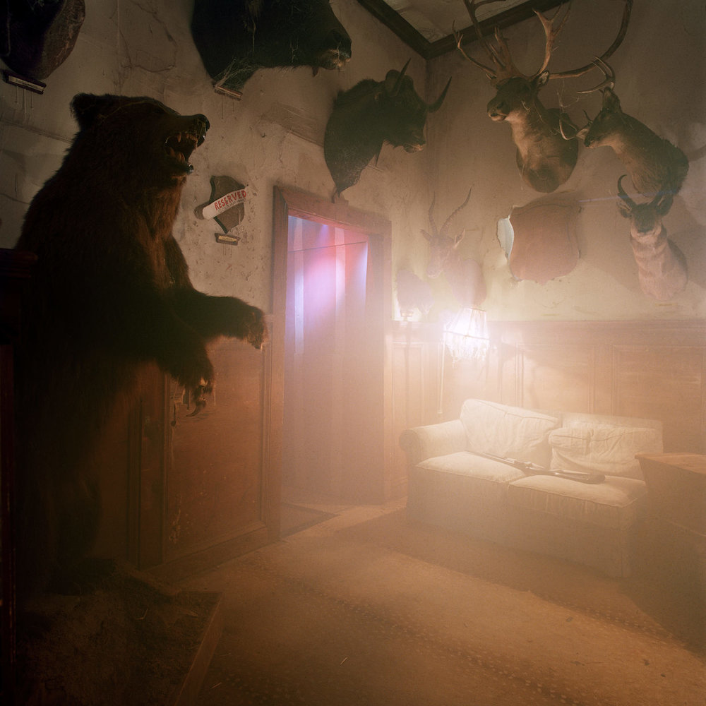 """Misty Keasler, """"Trophy Room, Bates Motel, Glen Mills, PA"""" (2016), archival pigment print, 42 × 42 inches (courtesy the artist and the Public Trust)"""