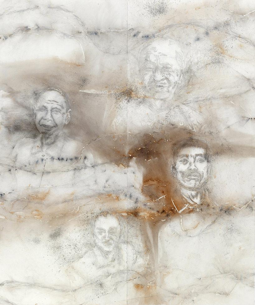 'the distant clouds', cai guo-qiang, polvere da sparo su tele, 240 x 200 cm, 2017;courtesy © museo nacional del prado