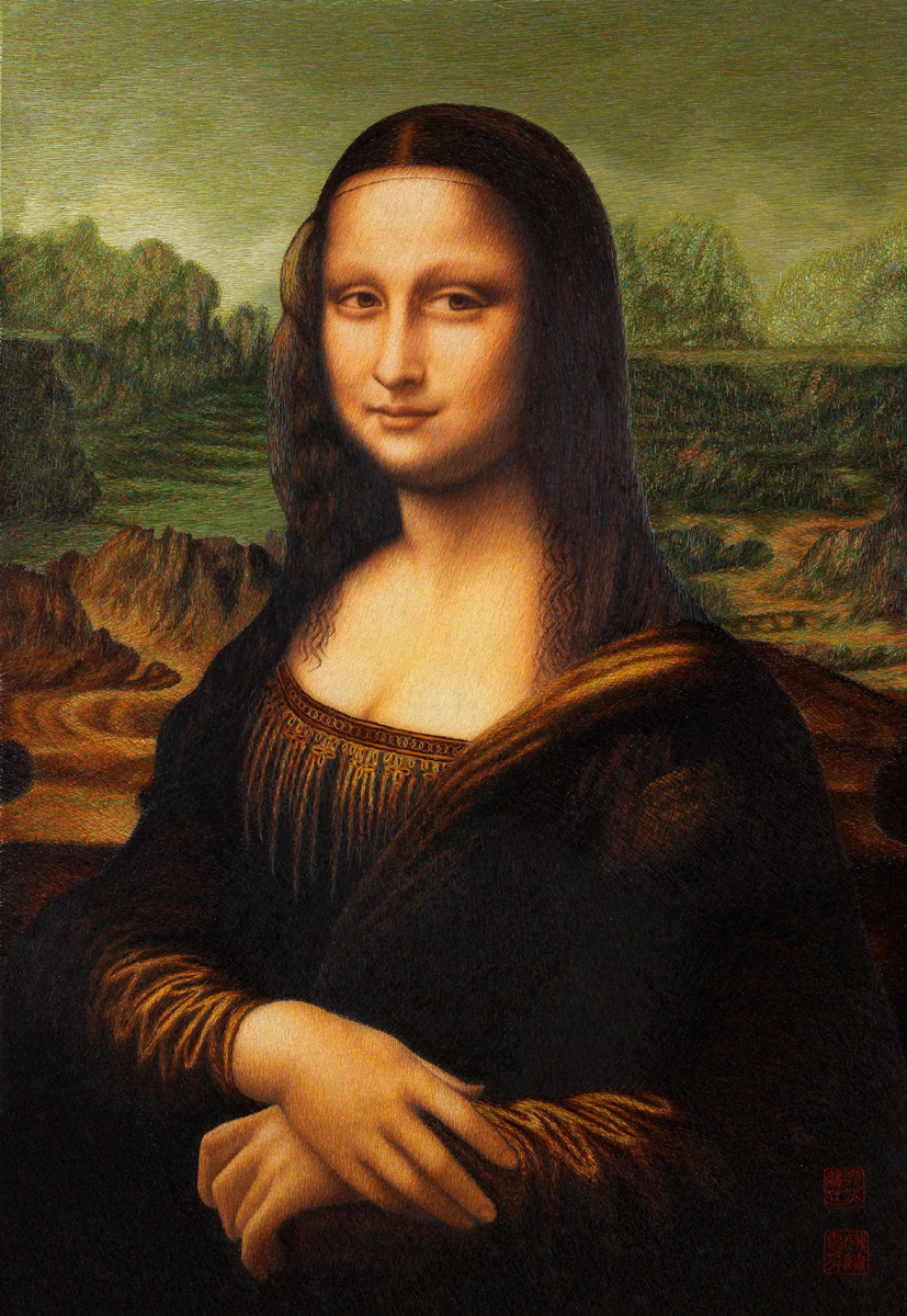 Mona Lisa (Leonardo da Vinci), ricamo a cuciture casuali, 45x65cm, 2005