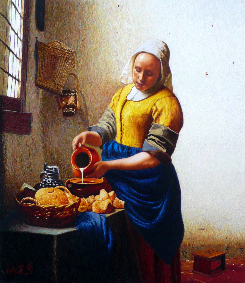 La Lattaia (Vermeer), ricamo a cuciture casuali, 60x80cm, 2006