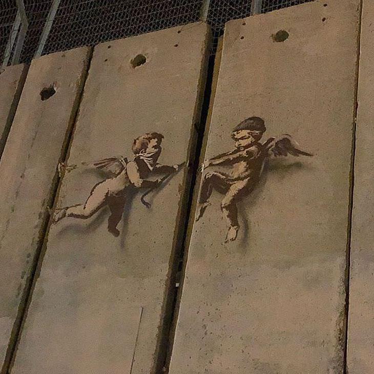 Banksy sulla barriera di contenimento israeliana