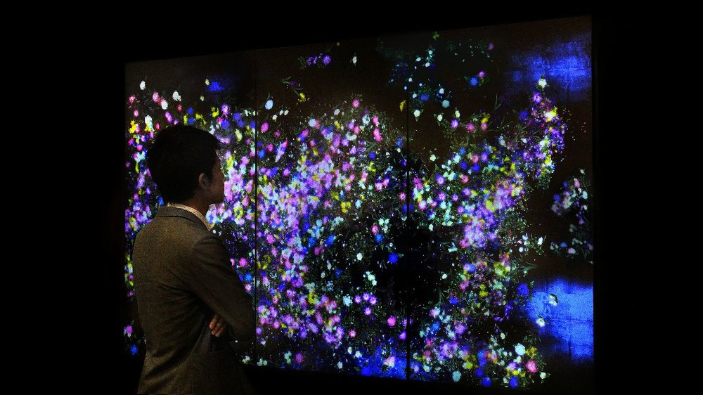Teamlab, 'Flowers and People - Dark', National Gallery of Singapore