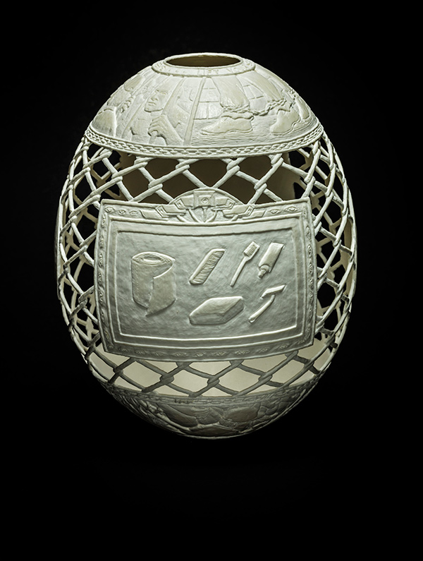 Reception: Fresh Fish, 2015, carved ostrich egg shell, 6.5 x 5 x 5 in. photo via ricco/maresca