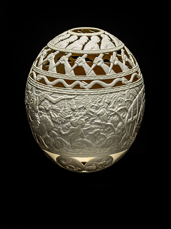 51/50 Dreams, 2015, carved ostrich egg shell, 6.5 x 5 x 5 in. photo via ricco/maresca