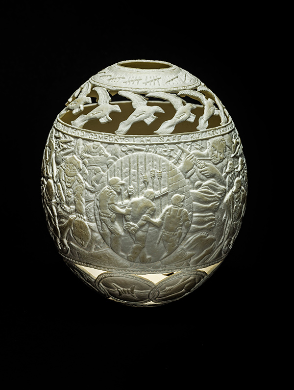 Sanctuary, 2014, carved ostrich egg shell, 6.5 x 5 x 5 in. photo via ricco/maresca