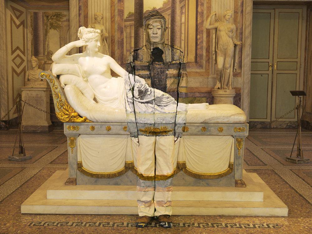 Liu Bolin, Paolina Borghese Bonaparte, Galleria Borghese, Roma. Curtesy Boxart Verona