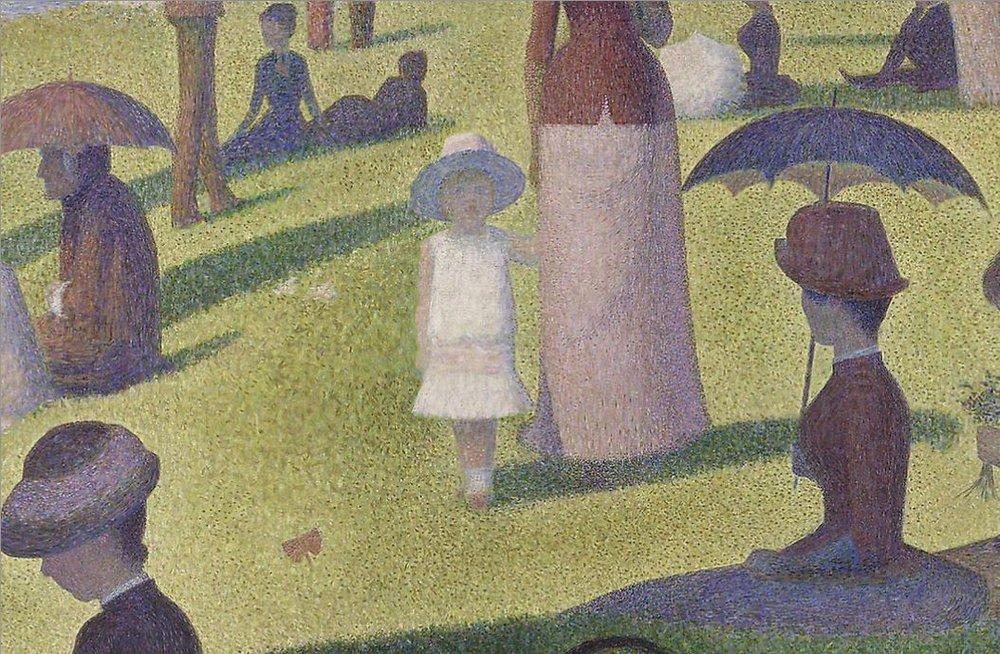 Georges Seurat, Una domenica pomeriggio sull'isola della Grande Jatte (particolare)