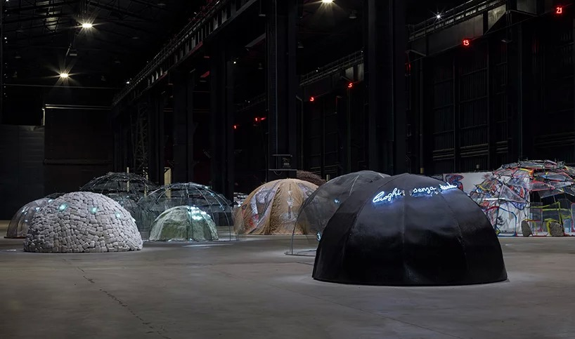 "mario merz, ""igloos"", exhibition view at pirelli hangarbicocca, milan, 2018: courtesy pirelli; hangarbicocca, milano: photo: renato ghiazza © mario merz, by siae 2018"