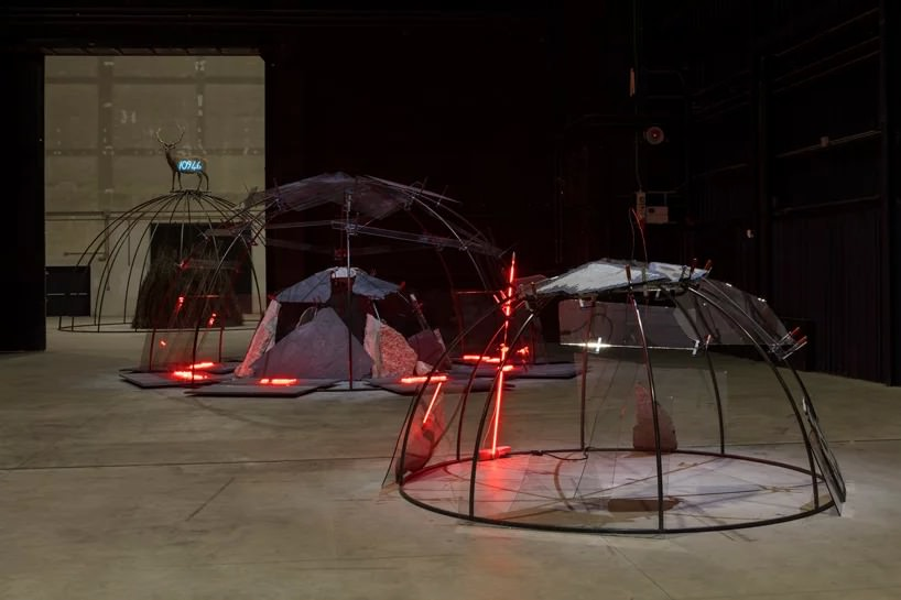 mario merz igloos, exhibition view at pirelli hangarbicocca, milan, 2018; courtesy pirelli; hangarbicocca, milan; photo: renato ghiazza © mario merz, by siae 2018
