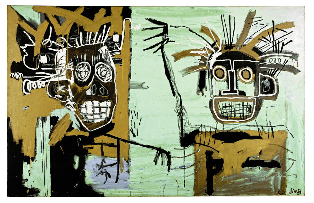 Untitled (Two on Gold), 1982 Acrylic and oilstick on canvas, 203 x 317.5 cm / 80 x 125 inches Photo: Courtesy Galerie Enrico Navarra, Paris Copyright: © The Estate of Jean-Michel Basquiat. Licensed by Artestar, New York