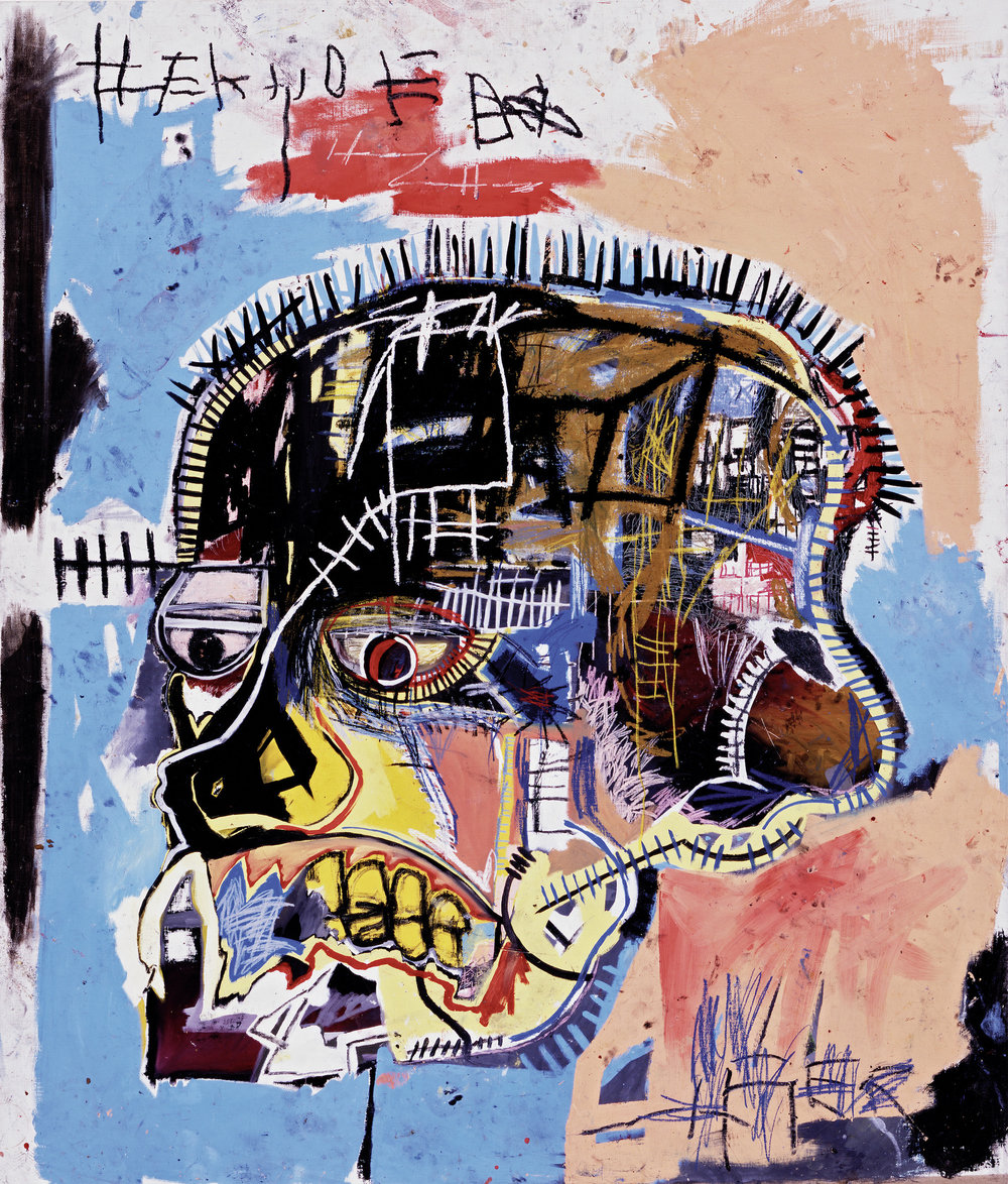 Untitled (Skull), 1981 Acrylic and oilstick on canvas, 207 x 175.5 cm / 81 1/4 x 69 inches Photo: The Eli and Edythe L. Broad Collection Copyright: © The Estate of Jean-Michel Basquiat. Licensed by Artestar, New York