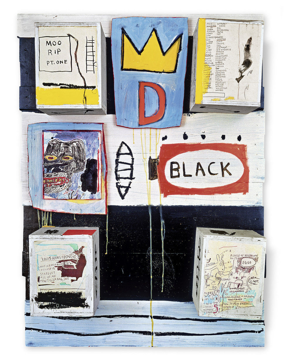 Black, 1986 Acrylic, oilstick, photocopy collage, and wood collage on panel, 127 x 92 x 21.5 cm / 50 x 36 1/4 x 8 1/2 inches Photo: Courtesy Galerie Enrico Navarra, Paris Copyright: © The Estate of Jean-Michel Basquiat. Licensed by Artestar, New York
