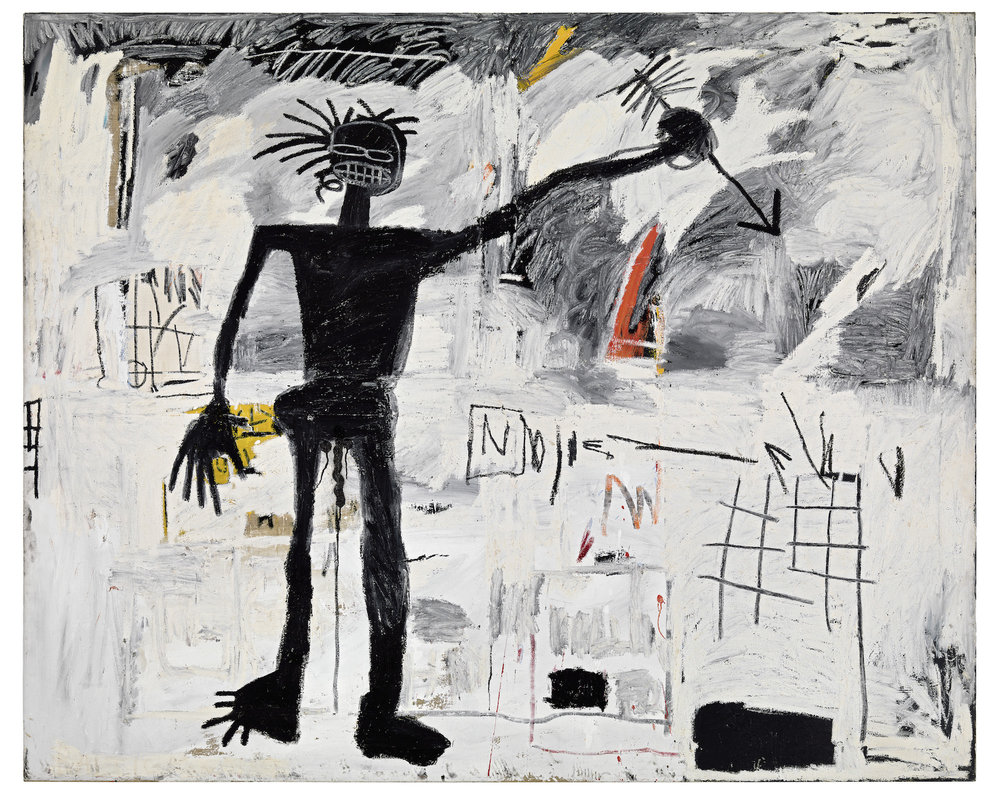 Self-Portrait, 1982 Acrylic and oilstick on linen, 193 x 239 cm / 76 x 94 inches Photo: Rob McKeever, courtesy Gagosian Copyright: © The Estate of Jean-Michel Basquiat. Licensed by Artestar, New York