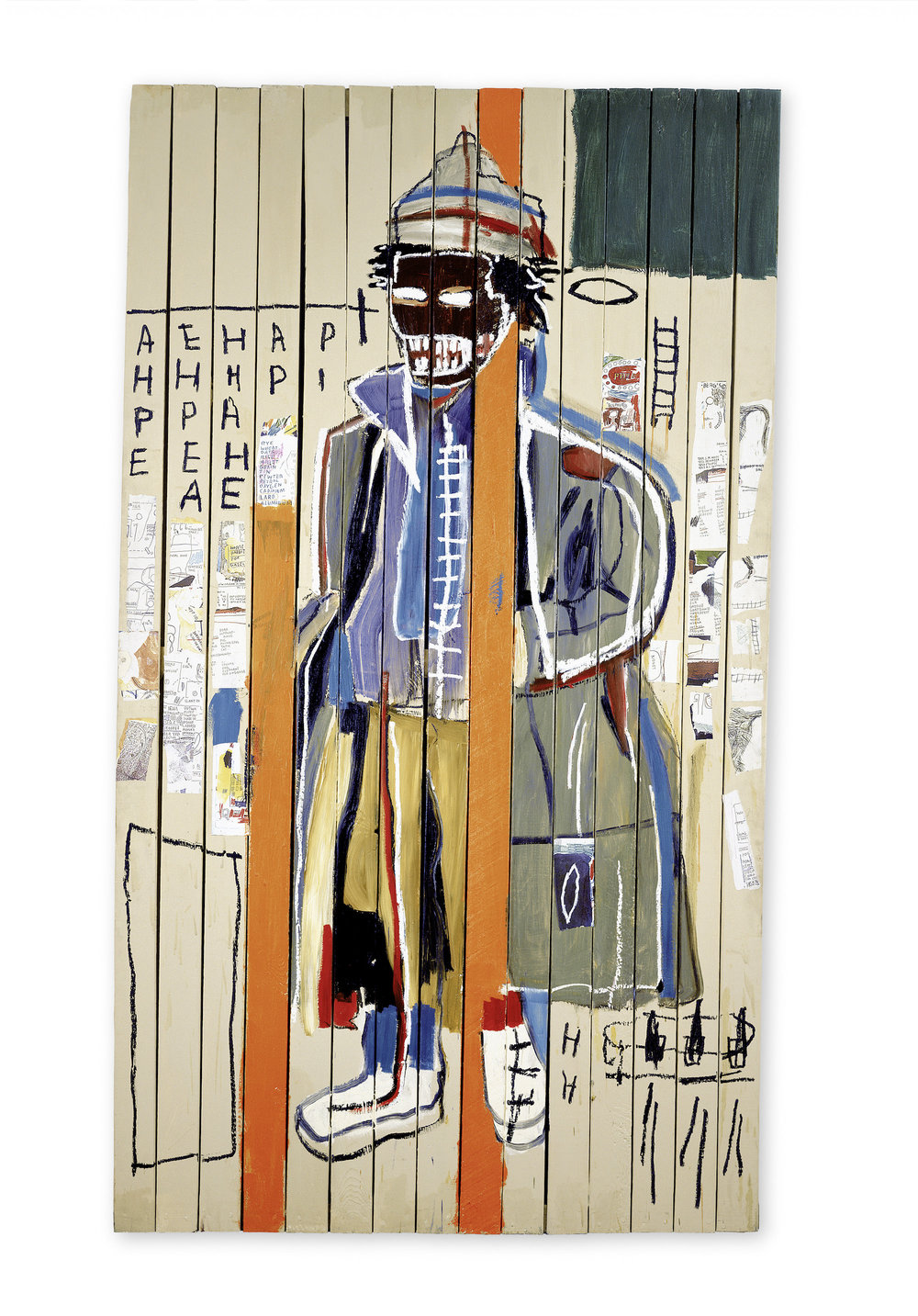 Anthony Clarke, 1985 Acrylic, oil, oilstick, and photocopy collage on wood, 244 x 139 cm / 96 x 54 3/4 inches Photo: Courtesy Lio Malca Copyright: © The Estate of Jean-Michel Basquiat. Licensed by Artestar, New York